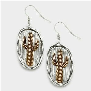 Jewelry - 🌵2 Left! 5⭐️Rated! Cactus Two Tone Metal Earrings